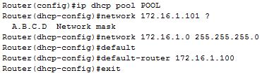 dhcp pool configuration