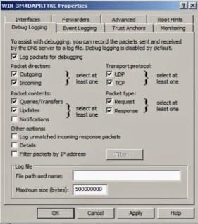 DNS debug logging