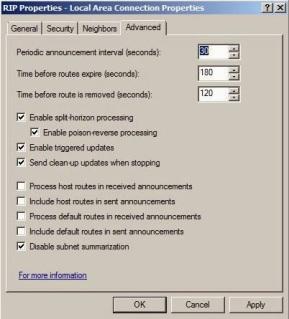 RIPv2 advanced settings