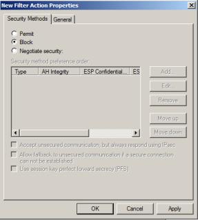 IPSec filter action