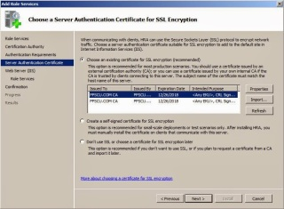 Server Authentication Certificate for SSL Encryption