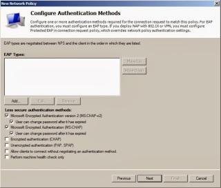 NAP authentication methods