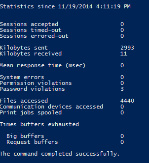 Powershell net statistics server command