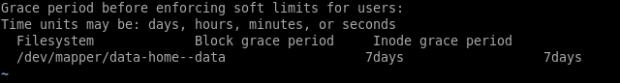 Linux quota grace period